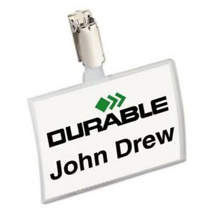 Durable Convex Name Badge Holder Strap Clip 25 Badge Holders dbl821619