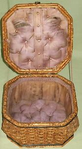 Antique Sewing Box Basket Woven Splint Hinged Lid W Handle Roll Tufted Diamonds