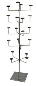Hat Cap Millenary Display Rack 5 Tier Upright 15 Sq Base Fixture Chrome New