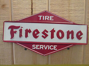 Firestone Tire Service Metal Sign Auto Shop Vintage Gas Station Dodge Ford