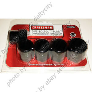 Craftsman 5 Pc Bolt Out Plus Rounded Damaged Nut Remover Socket Set For 1 2 New