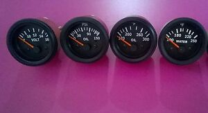 Gauges Set 4 Pc Oil Pressure Temperature Oil Temp Volt Gauge 2 Elec
