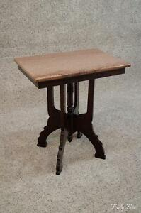 Civil War Era Chocolate Marble Victorian Carved Parlor Side Table Nightstand