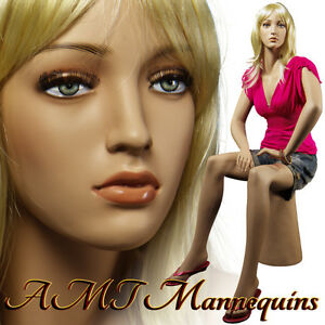 Female Mannequin For Car Shows sitting Handmade Manikin Joan 1pedestal