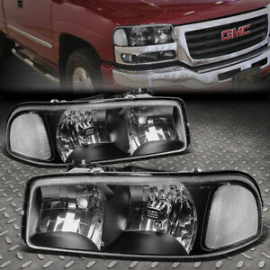 For 99 07 Gmc Sierra Yukon Xl Black Housing Clear Corner Headlight Head Lamps