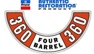 1974 Up Dodge Plymouth 360 Four Barrel Air Cleaner Decal New Mopar 74 75 76 77