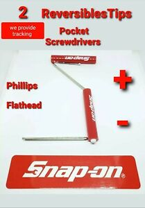 2x Snap On Tools Pocket Screwdriver With Flat And Phillips Reversible Tip New