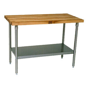John Boos Sns08 Wood Top Work Table Stainless Undershelf 48 w X 30 d