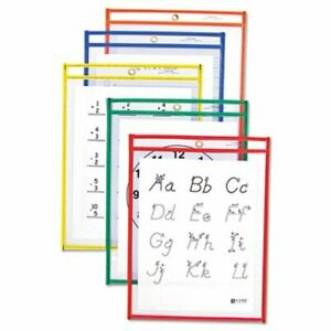 C line Reusable Dry Erase Pockets 9 X 12 25 Assorted Colors box cli40620
