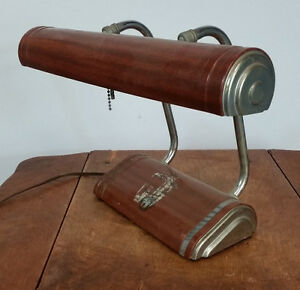 Vintage Antique Machine Age Industrial Metal Desk Table Light Lamp Banker Deco