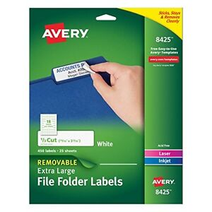 Avery Removable Extra Large File Folder Labels 1 3 Cut White Pack Of 450 8425