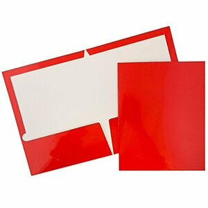 New Jam Paper Two Pocket Glossy Presentation Folders Red Pack Of 6 Folders