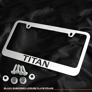 For Nissan Titan Pickup Truck A60 Chrome Cast Zinc Metal License Plate Frame Cap