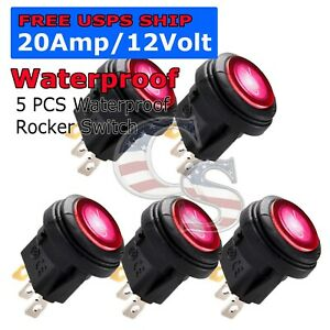 5x M1 Red Led Light 12v 20a Car Auto Boat Round Rocker Waterproof Toggle Switch