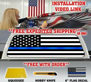 Thin Blue Line Police Support American Flag Pickup Truck Back Window Decal Tint