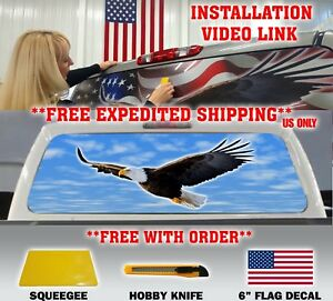 American Flag Eagle Pick up Truck Back Window Graphic Decal Perforated Tint