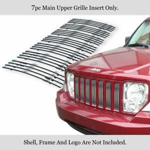 For 2008 2012 Jeep Liberty Vertical Stainless Steel Billet Main Upper Grille