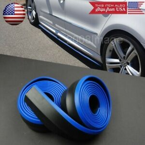 2 X8ft Black Blue Trim Ez Fit Bottom Line Side Skirt Lip Trim For Hyundai Kia