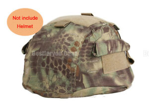 Airsoft Tactical Military Helmet Cover w Back Pouch for MICH 2002 Ver2 Mandrake
