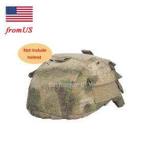 Tactical Military Airsoft Hunting Helmet Cover w Back Pouch for MICH 2001 AT-FG