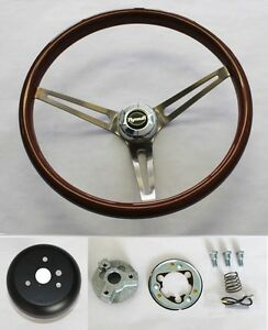 High Gloss Real Wood Steering Wheel To Fit Ididit Column 15 With Plymouth Cap