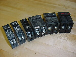 Lot Of 6 Circuit Breakers Cutler Hammer Ge Challenger And Bryant