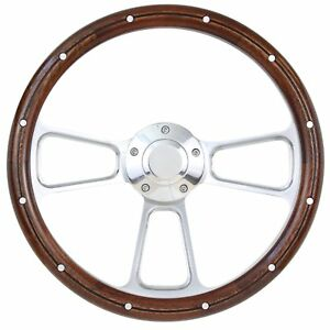 Mahogany Polished Billet Steering Wheel With Engraved Ford Logo Horn Button