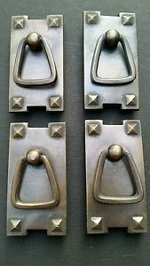4 Mission Stickley Antique Style Brass Vertical Ring Handles Pulls 2 1 2 H25