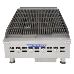 Bakers Pride Bphcrb 2424i Gas 24 Heavy Duty Countertop Glo stone Charbroiler
