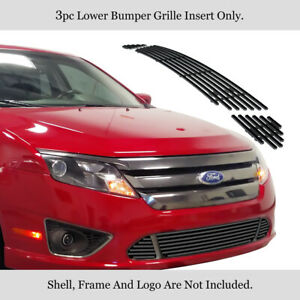 For 10 12 2011 2012 Ford Fusion Sport Bumper Black Stainless Billet Grille