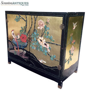 Large Antique Chinese Asian Hand Painted Gold Flake Cabinet Birds Of Paradise