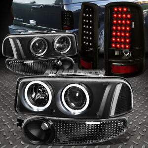 Black Halo Projector Head Light bumper smoked Led Tail Lamp For 01 Yukon Denali