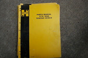 Hyster Towing Winch D7k W8k Part Manual Book Spare Catalog Crawler Tractor Dozer
