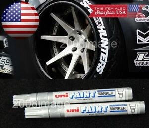 2x Silver Waterproof Oil Based Pen Paint Marker For Ford Tires Wheels Rubber