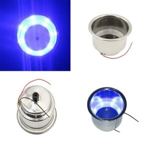 8x Blue Stainless Steel Cup Drink Holder 8 Led Marine Boat Car Truck Camper