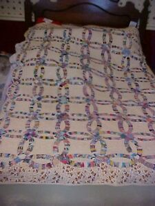 1960s Quilt Double Wedding Ring Cotton Prints