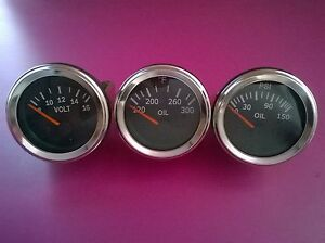 El Gauges 52mm 3pc Oil Pressure Gauge Oil Temp Gauge Volt Gauge Chrome