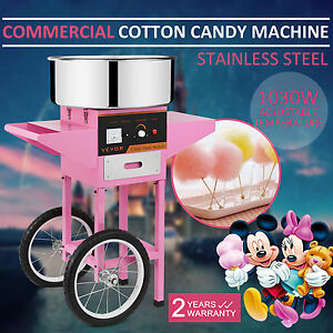 New Electric Sugar Floss Machine Commercial Cotton Candy Maker Pink Cart