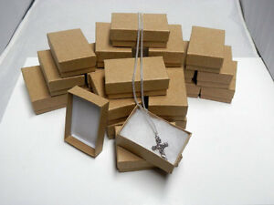 New 50 Kraft Cotton Filled Jewelry Gift Boxes 2 5 8 X 1 1 2 Charm Pendent Box
