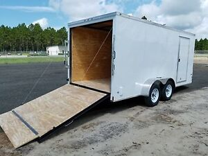 7x16 7 X 16 Enclosed Trailer Cargo V nose Ramp Motorcycle Utility 14 18 2018