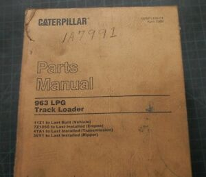 Cat Caterpillar 963 Track Loader Parts Manual Book Catalog 11z Crawler Catalog