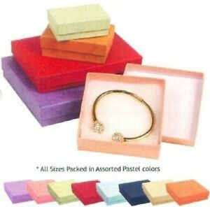 New100 Assorted Color Cotton Filled Jewelry Ring Earring Gift Boxes 3 1 4