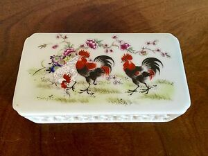 Antique Chinese Porcelain Scroll Paper Weight Chicken Rooster 19th Early 20th C