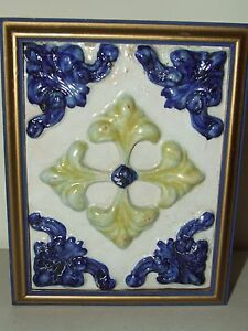 Antique Historic Architectural Tile Pottery Ceramic Tile Professionally Framed