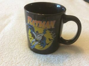 Batman Coffee Mug Tea Cup Tm & DC Comics Inc. Black Gold Ceramic Collectible Bat