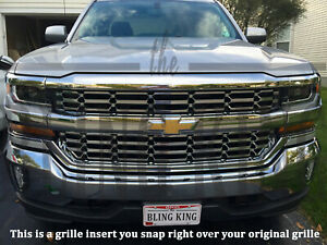 2016 2018 Chevy Silverado 1500 Chrome Mesh Grille Grill Insert Overlay Ls Lt Wt