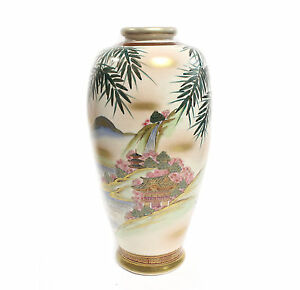 Large Satsuma Vase Hand Painted Waterfall Scene Rust Gold Trim Circa 1920