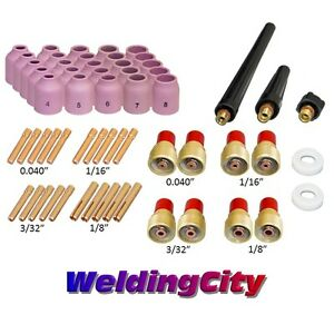 58 pcs Tig Welding Torch Kit 040 1 8 Gas Lens Setup 9 20 25 Tak47 Us Seller