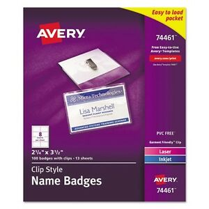 Avery Top Loading Clip Style Name Badge Kit 74461