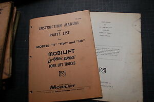 White Model H Hw Hr Forklift Service Repair Parts Manual Book Catalog Spare Shop